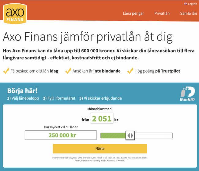 Låna pengar via låneförmedlare AXO Finans